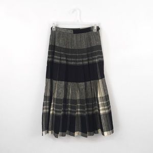 Dresses & Skirts - Pleated Plaid Grey Silver White High Waist Skirt